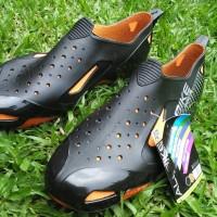 Aksesoris S7 Sepatu AllBike Hitam ORANGE Sepatu Boots Biker Sepeda AL