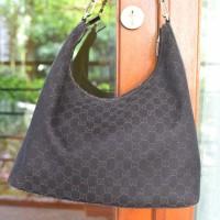 Gucci Black Denim Canvas Shoulder Bag Branded Authentic Tas Pundak