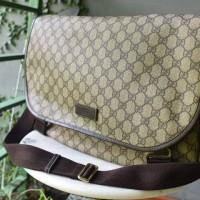Gucci Beige And Ebony Gg Coated Canvas Medium Messenger Bag - SOLD