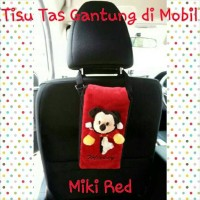 Tempat kotak box tissue tisu tissu mobil boneka miki mickey merah