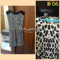 B06 Baju Dress Cewek Tanpa Lengan Hitam Putih merk MANGO Bagus Murah