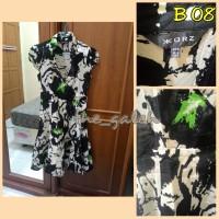 B08 Baju Dress Cewek Hitam Putih Motif Abstrak Bagus Murah
