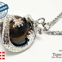 VeE Liontin Terapi Kesehatan Model Bulat Lilitan Naga Batu Tiger Eye