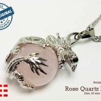 VeE Liontin Terapi Kesehatan Model Bulat Pelukan Naga Batu Rose Quartz