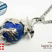 VeE Liontin Terapi Kesehatan Model Bulat Pelukn Naga Batu Lapis Lazuli