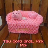 Tempat Tissue / Tisu / BoX Tisu KoTaK SoFa Snail pink Pig