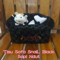 Tempat Tissue / Tisu / BoX Tisu KoTaK SoFa Snail Black Sapi N'dut