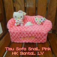 Tempat Tisu Mobil Model Sofa SNAIL PINK Boneka HELLO KITTY LV Bantal