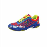 Sepatu Flypower Dieng Shoes,, Sepatu Badminton Blue/Red/Citrus