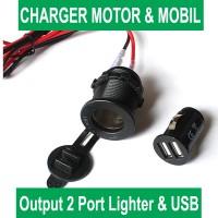 USB Charger Socket lighter 2 Port Output bisa untuk Motor dan Mobil
