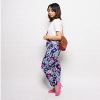 Celana Panjang Casual Santai Wanita Motif Floral Pink Berpita