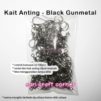100pcs - Kait Anting Black Gun Metal - Anting Pompom Pom Pom Ear Hook