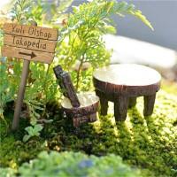 Miniatur Set Desk & Chair Dekorasi Terrarium Mini Fairy Garden