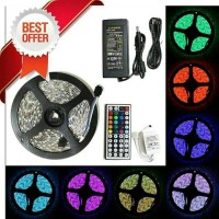 LAMPU FLEXIBLE LED STRIP RGB 5050 + REMOTE 44 TOMBOL + ADAPTOR 5A