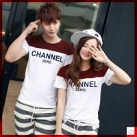 [Cp T-Shirt Channel CL] baju couple cotton combed putih marron