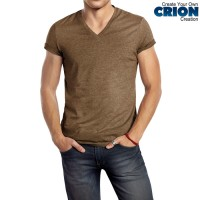Kaos Polos - V neck Premium Cotton (Brown Melange)