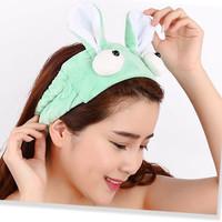 facial headband, bandana mandi bertelinga lucu