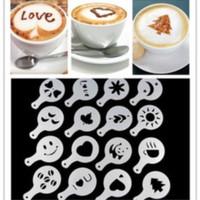 coffee latte art tools, cetakan kopi,cappucino,alat barista 16 pcs set