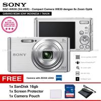 SONY Cyber-shot DSC-W830 SILVER Resmi SanDisk16gb ScreenGuard Pouch