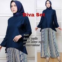 IV Setelan Kulot Diva (Navy - Maroon) / OOTD / Trend Fashion Muslim
