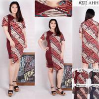 Batik Bodycon Two Tone Midi Mini Dress XL XXL Bigsize Big Size