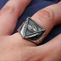 illuminati 666 satanic dajjal skull ring / cincin tengkorak