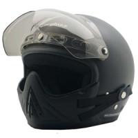 Helm Cargloss CF Retro Black Doff + masker + visor - Hitam, Size XL