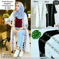 Rompi Panjang Wanita Muslim/Outer Wear Model Kimono Motif Etnic