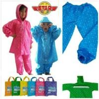 Jas hujan anak / jas hujan celana anak / Plevia / bintang - 110