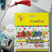 Lilin Happy Birthday motif Bintang Glitter /Lilin Ulang Tahun Karakter