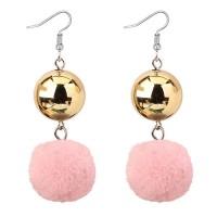Anting Gantung Elegant Pink Fuzzy Ball Decorated Pom Earrings Y58660