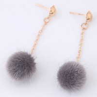 Anting Tusuk Fashion Grey Pure Color Decorated Pom Earrings A50831