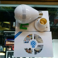 Kamera CCTV panoramic lampu, Ip camera wireless 360 kamera bohlam wifi