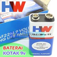 Baterai Kotak 9v HW Batere Hi Watt 1604E 6F22 Batre Battery Arduino