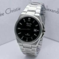Jam Tangan Pria Cowok Alexandre Christie 8506 Man Silver Black