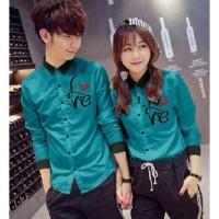 JC - Kemeja Couple LOVE LOVE Baju Pasangan Murah Kemeja Kompak Baju C