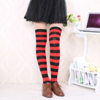 Kaos kaki cosplay anime gintama kagura hitam merah stripes panjang