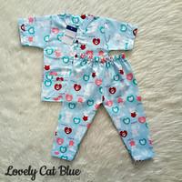 piyama anak katun catra motif lovely cats biru
