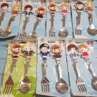 Stainless Couple set Spoon Fork/Sendok Garpu lucu, cocok utk Souvenir
