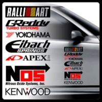 sticker stiker mobil sponsor racing ralliart yokohama kenwood nos dll - 1 PINTU