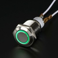 Stainless push ON OFF button self locking switch ring LED saklar 16mm