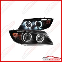 HEADLAMP - BMW E90 2005-2008 - EAGLEEYES - ANGEL EYES - LED - BLACK