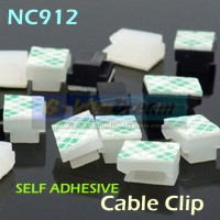 NC912 Cable Clip Wire Mount Clamp Tie Ikat Kabel + Self Adhesive AO89