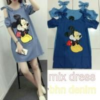 FT307 Mix dress RO dress wanita superdenim biru dan biru muda