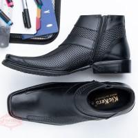 Sepatu Boot Pria Kulit Asli Model Pantofel Formal Premium BIG SIZE - Hitam, 44