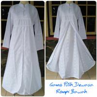 Gamis putih / dress putih dewasa kancing depan rompi size XXL, XXXL