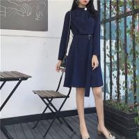 Midi Dress Long Sleeve Belt Office Look
