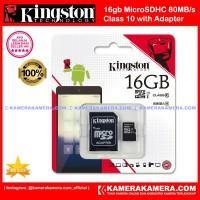 Kingston Micro SD 16gb Class 10 80mbps Original Garansi Resmi