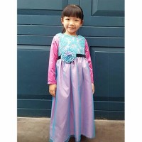Baju Muslim Anak Gamis Perempuan Pink Biru Ungu 1 2 3 4 5 6 Tahun
