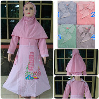 Gamis/ dress anak muslim katun motif kotak size 1,2,3